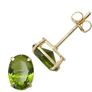 9ct Gold August Birthstone Oval Stud Earrings Peridot Coloured Jewellery