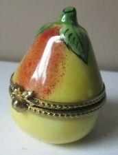 Vintage Limoges France French Fruit Pear Artist Signed Trinket Box Peint Main