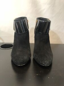 Tory Burch Black Leather Heeled Booties Black Patent Leather Gold Buckle 7.5 M