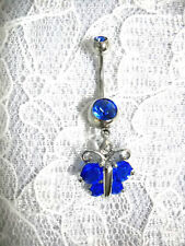Cz Stones 14G Blue Navel Belly Ring New Nature Girl Butterfly Deep Cobalt Blue