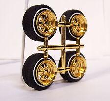 Hoppin Hydros 1/24 1/25 Lowrider OG BLVD GOLD Wheels Rims w/ Whitewall Model Kit