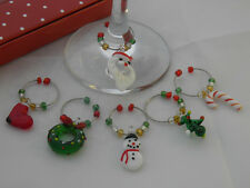 Christmas Design Wine Glass Charms with Gift Box ~ FREE P&P