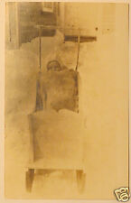 Early 1900s RPPC Baby in Wooden Sled Post Card