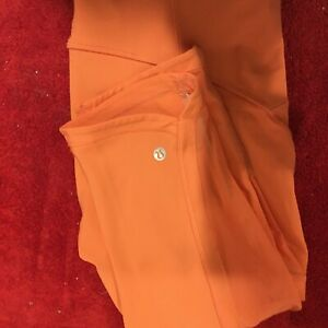 Lululemon Sun Runner Crop Leggings  Neon Orange Coral Women's Size 10