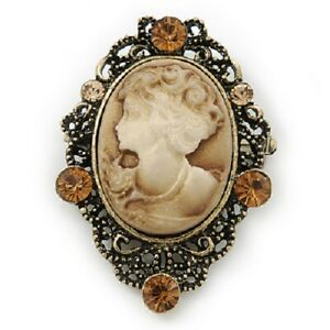 Gothic Victorian Burnt Gold Tone Filigree Antique Vintage Cameo Pin Brooch