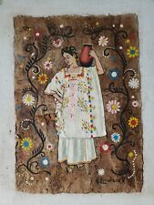 3 Mexican Indigenous Cork Paintings Oaxaca, Michoacan And Potosi. 16 x 13