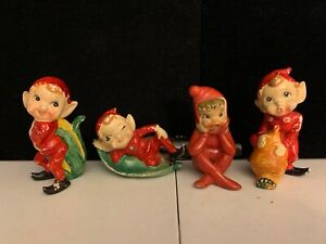 VINTAGE ELF / PIXIE FIGURINES (JAPAN) - LOT 0F 4