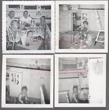 Lot of 4 Vintage Photos Cute Boys & Girls in Kitchen Home Interior 755845