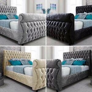 Plush Velvet Royal Swan Sleigh Upholstered Bed Frame Colours Size RRP £849.99 +