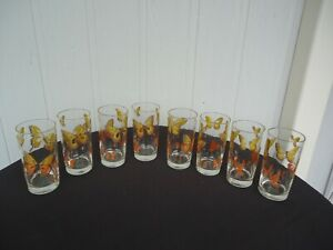 8 vintage  retro  yellow orange butterfly design highball glasses