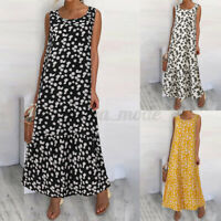 Size Womens Long Sleeveless Floral Ladies Summer Beach Loose Swing Maxi Dress UK