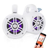 Pyle PLMRLEWB47WB Waterproof Bluetooth Marine Tower Speakers with LED Lights