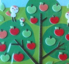 Korean 3D Felt Fuzzy Funny Sticker World Apple Tree Fruit Bird