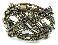 "Paua Abalone Seed Beads Memory Wire Cuff Bracelet 6""-8""adjustable Jewelry AA235"