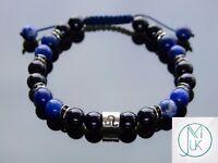 Leo Tourmaline Sodalite Birthstone Bracelet 6-9'' Macrame Healing Stone Chakra