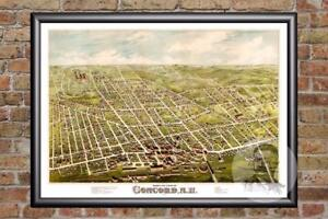 Vintage Concord, NH Map 1875 - Historic New Hampshire Art - Victorian Industrial