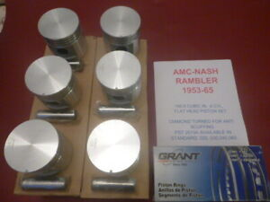 1953-65 AMC,NASH,RAMBLER 195.6(196) 6 CYL FLATHEAD PISTON & RING SET, WITH PINS
