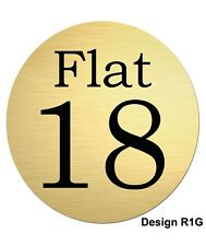 75mm Text or Number Round Gold Brushed Aluminium Flat / Door Plaque/sign