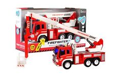 Fire Rescue Truck with Crane Toys Friction Powered Red and White