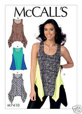 M7410 Misses' Knit Diagonal-Seam Tank Tops Sizes 6-14 McCall's Sewing Pattern