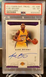 2017 National Treasures Signatures Kobe Bryant On Card Auto /49 PSA 6 EX-NM