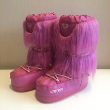 Roxy Quicksilver Pink Fluffy Moonboots Snow Boots Ski Faux Fur Girls EU30.5/UK12