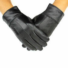 MENS REAL LEATHER GLOVES THERMAL LINED BLACK DRIVING WINTER GIFT