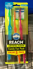 5 NEW REACH CRYSTAL CLEAN TOOTHBRUSHES - MEDIUM HEAD - 1 FAMILY FUN / VALUE PACK