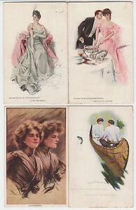 B5230: (4) 1900's SIGNED Artist Womans Postcards