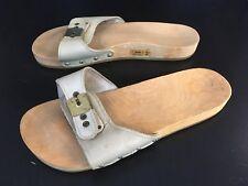 Vintage Scholl Sandals 1970s Leather Wooden Clogs Exercise Shoes Austria Women 6