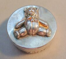 "ADORABLE VINTAGE SILVER BOX W, TEDDY BEAR TOP ON SIDE ""FIRST CURL"" 2"" CIRCLE"