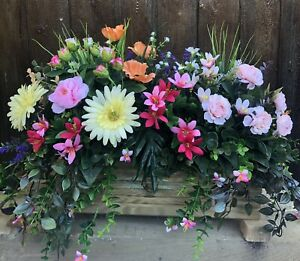 Decking Wooden Planter With Artificial Poppies And Roses With Foliage