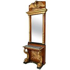 Carved Mahogany & Gilt Wood Swedish Neoclassical Console with Mirror 101-6450