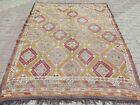 """Vintage Turkish Kilim Rugs, Embroidery Rug, Large Kelim 68""""x92"""" Area Rug, Carpet"""
