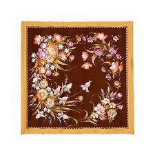 Foulard de soie, Cadeau Femmes Carré en soie Couleurs Marron, Dore, Blanc, Rose