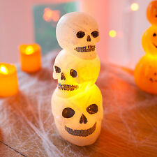 Stack of Battery Operated Wax LED Halloween Theme Skulls Table Party Decorations