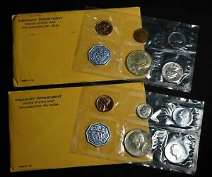 Pair of 1964 United States Mint Proof Sets With 90% Silver - Free Shipping USA