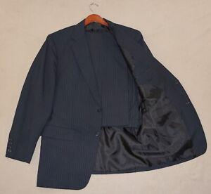 42R Custom Tailored 2-Piece Suit - Men 42 Black Pinstripe Hudderfields Bespoke