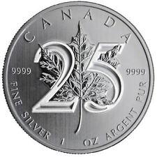 2013  Silver 1 oz. Canadian MAPLE LEAF 25th ANNIVERSARY
