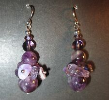 Amethyst Pierced Earrings Handmade Crystal Glass Beads Surgical Steel Wires New