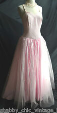 Forever Yours Bridal Gown VTG Beaded Bodice Tulle Ballgown Pink Formal dress 8