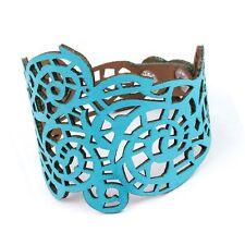 Women Jewelry Flower Wide Bangle Hollow out Leather Bracelet Punk Style Blue