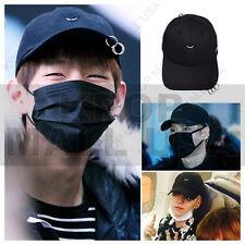 BTS WINGS Taehyung V Suga Black Triple Piercing Embroidered Snapback Cap Hat