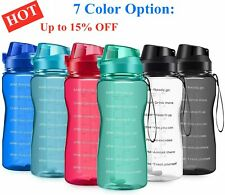 New Motivational Water Bottle 2.2L/64oz Half Gallon Jug with Straw &Time Marker