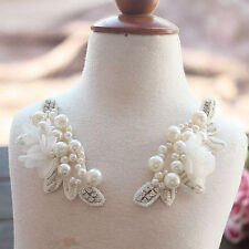1 Pair Ivory Pearl Beaded Applique Chiffon Leaves Corsage Collar Patches
