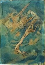 Original Jacob Steinhardt 1912 Signed Painting Germany France Israel Jewish Art