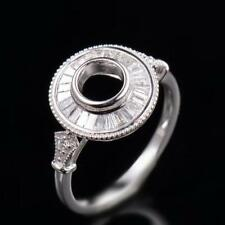 Natural Diamond Semi Mount Bezel Bridal Ring Setting Round 5MM 14K White Gold