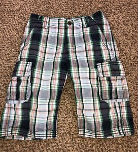 Boys Hanna Andersson Green Blue Plaid Longboard Cargo Shorts Size 120 6-7