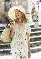 Sirdar Womens Knitting Pattern - Cardigans - 9276 - Wash N Wear Double Crepe DK