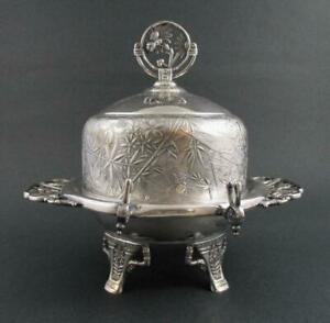 BUTTER DISH - Spiders BIRDS flowers BUTTERFLY - Aesthetic QUAD silver PAIRPOINT